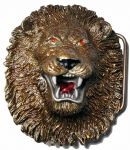 Lion Head Belt Buckle with display stand. Code BG3